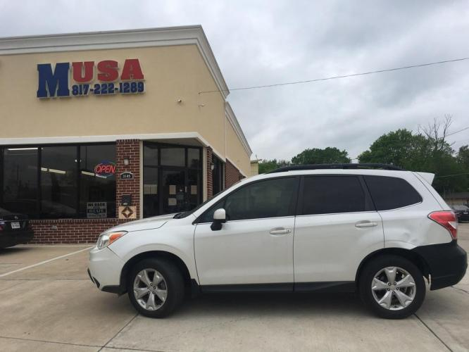 2014 WHITE SUBARU FORESTER 2.5I LIMITED (JF2SJAJC9EH) with an 2.5L engine, Continuously Variable transmission, located at 3145 N Beach st, Fort worth, TX, 76111, (817) 222-1289, 32.801109, -97.290657 - Photo #0